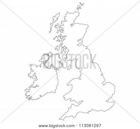 map britain illustrated on a white background