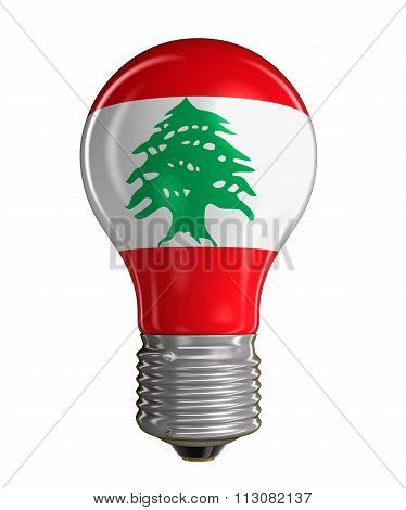 Light bulb with flag of Lebanon.  Image with clipping path