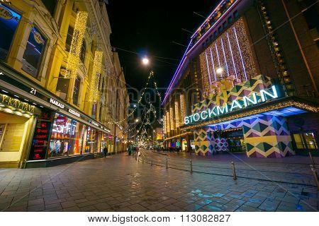 HELSINKI, FINLAND - DECEMBER 27, 2015: Stockmann store at night on December 27, 2015 in Helsinki, Finland