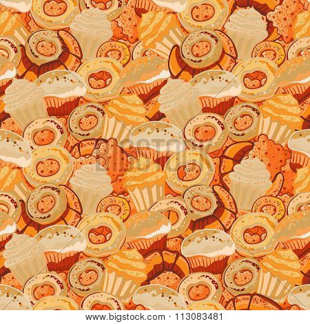 Pastry hand drawn seamless pattern. Doodle background collection confections. Icon set vector with donuts, cupcake, dessert, croissant, bagel