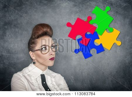Business Idea Concept. Woman Looking On Puzzle