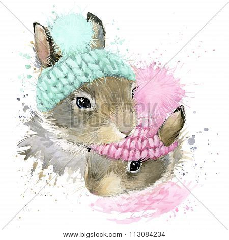Cute forest bunny T-shirt graphics, watercolor rabbit illustration