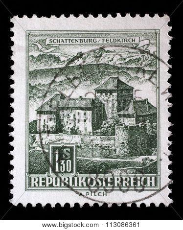 AUSTRIA - CIRCA 1967: a stamp printed in the Austria shows Schatten Castle, Feldkirch, Vorarlberg, circa 1967