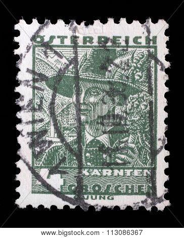 AUSTRIA - CIRCA 1934: A stamp printed by AUSTRIA shows Man from Carinthia, Traditional folk costume, circa 1934.