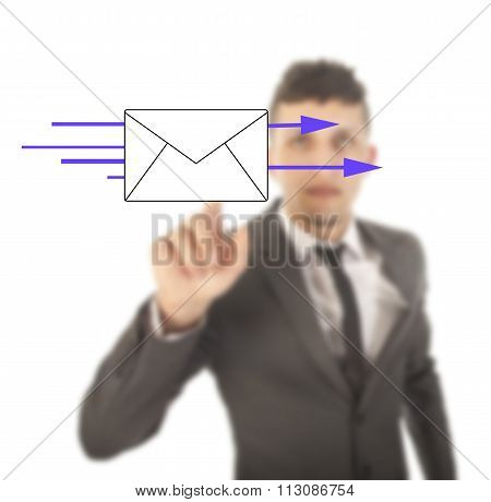 Young Business Man With Email Symbol Isolated On White Background