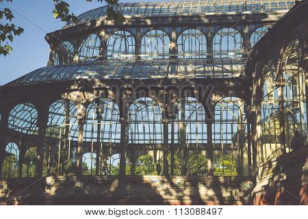 Crystal Palace (palacio De Cristal) In Retiro Park,madrid, Spain.