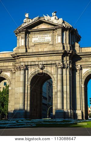 The Famous Puerta De Alcala At Independence Square - Madrid Spain