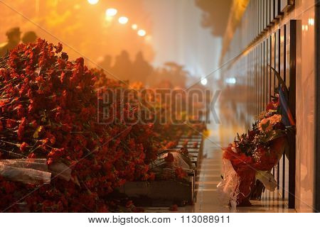 Carnations at 20th January monument, Baku, Azerbaijan