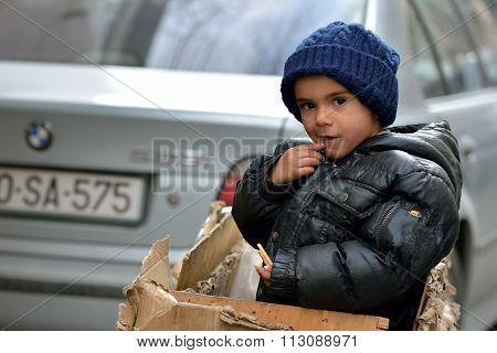 Boy in a box in Baku
