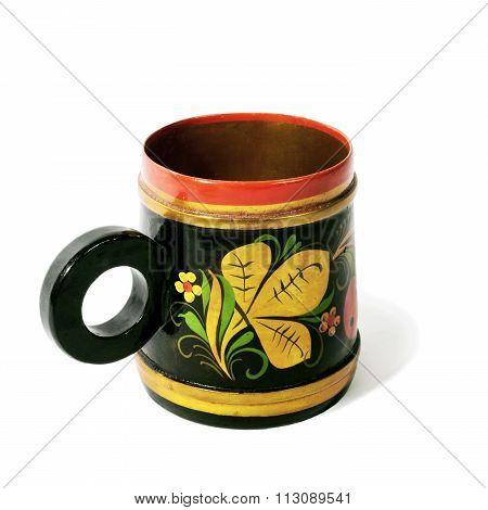 Wooden mug, painted in the style of Khokhloma
