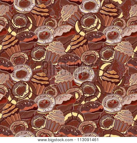 Pastry hand drawn seamless pattern. Doodle collection confections. Chocolate color background with donuts, cupcake, dessert, croissant, bagel