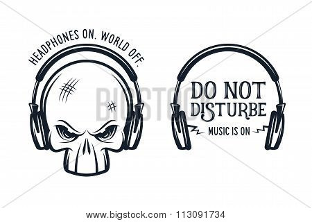 Skull in headphones print with quote. Vintage vector illustration.