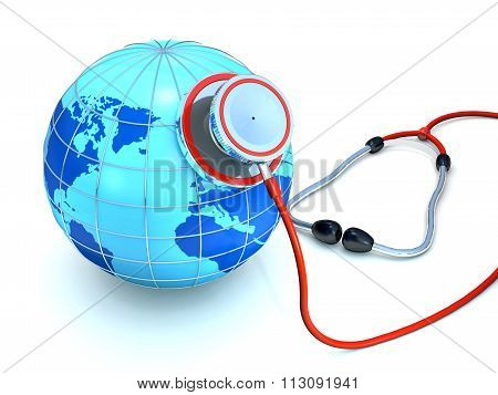 Stethoscope And Globe As A Concept Of Environmental Security.