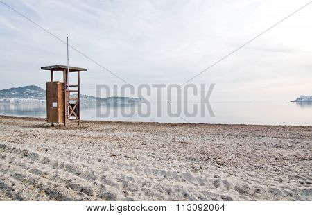 Lifeguard Station On Empty Beach