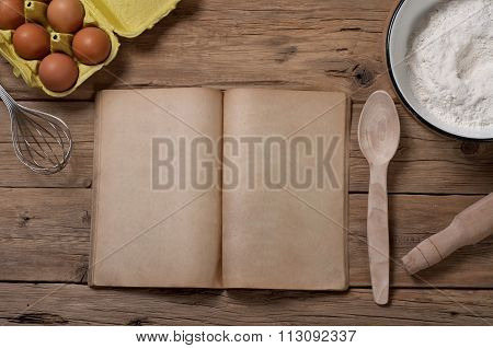 Cookery Book With Blank Pages With Ingredients For Baking