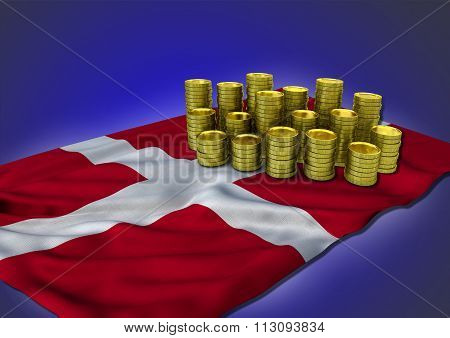 Danish economy concept with national flag and golden coins