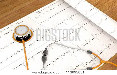 Stethoscope, Paper, Cardiogram Are On The Table.