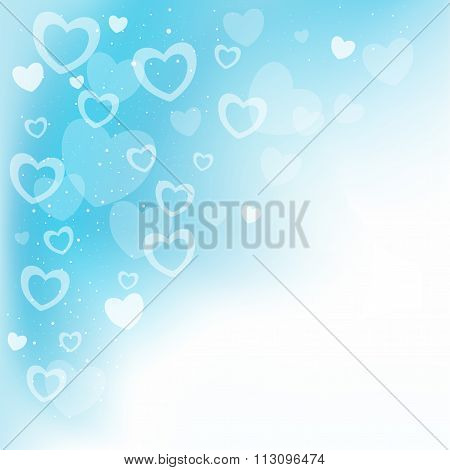 dream hearts blue background