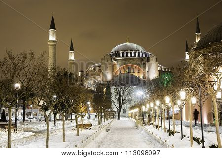View of Hagia Sophia, Aya Sofya, museum in a snowy winter night in Istanbul Turkey