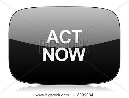 act now black glossy web modern icon