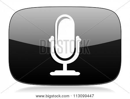 microphone black glossy web modern icon