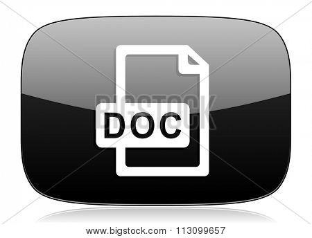 doc file black glossy web modern icon
