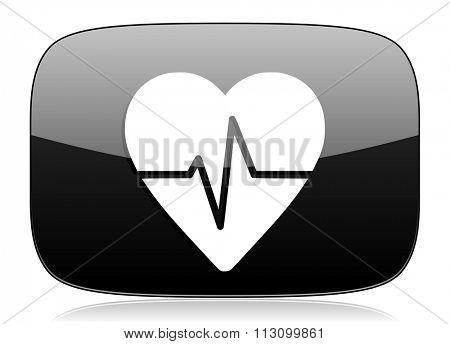 pulse black glossy web modern icon