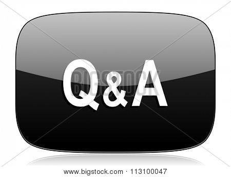 question answer black glossy web modern icon