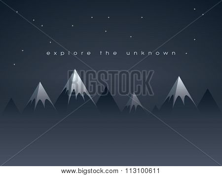 Low poly mountains night landscape vector background with stars in the sky. Symbol of exploration, d