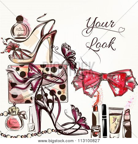 Beauty And Fashion Vector Watercolor Background With Cosmetics Make Up Artists Objects Lipstick, Nai