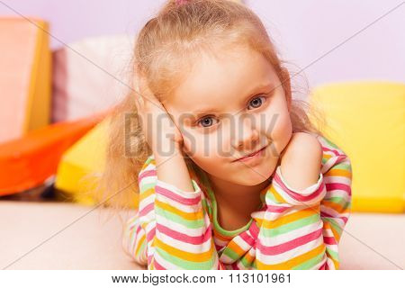 Portrait of beautiful girl with trouble expression