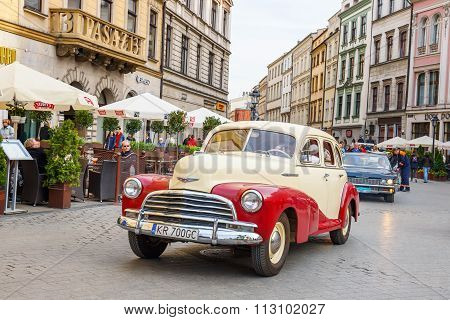 Krakow, Poland - May 15, 2015: Classic Old Cars On The Rally Of Vintage Cars In Krakow, Poland