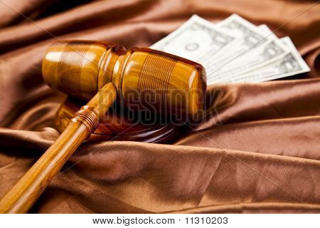 Law and justice concept in studio.