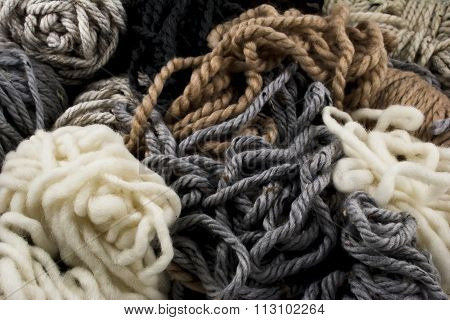 Scraps Of Yarn In Neutral Colors