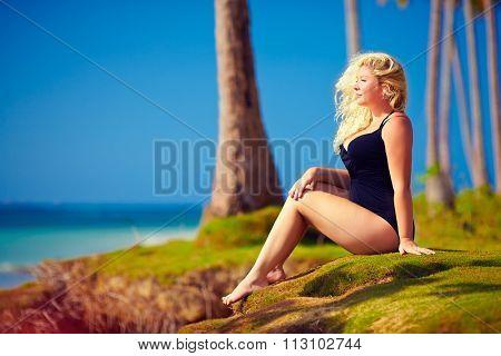 Beautiful Plus Size Woman Enjoy Life On Summer Vacation
