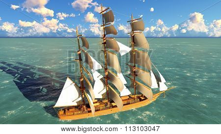 Ancient Pirate brigantine at sea