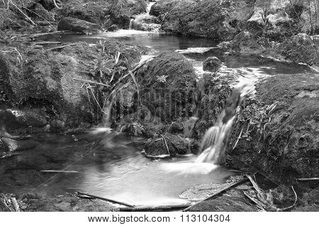Waterfalls in monochrome