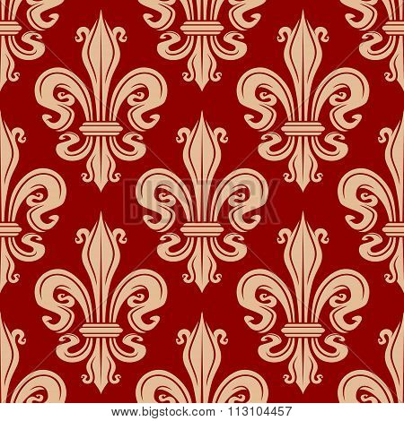 Beige and red fleur-de-lis seamless pattern
