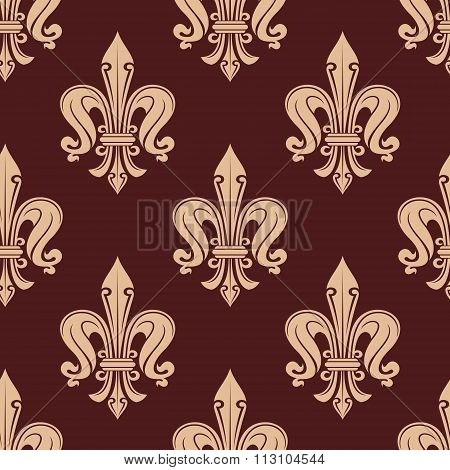 Brown and beige fleur-de-lis floral pattern