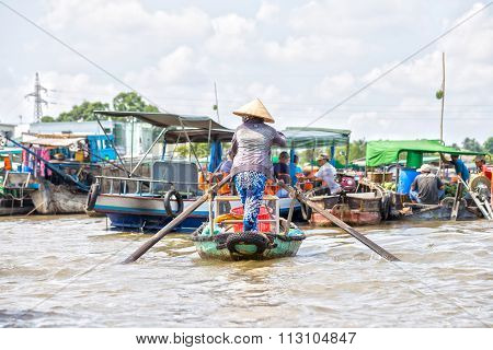 Women boating on the river agricultural trade