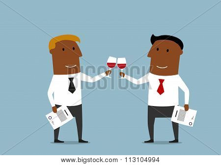Businessmen celebrating a signing of contract