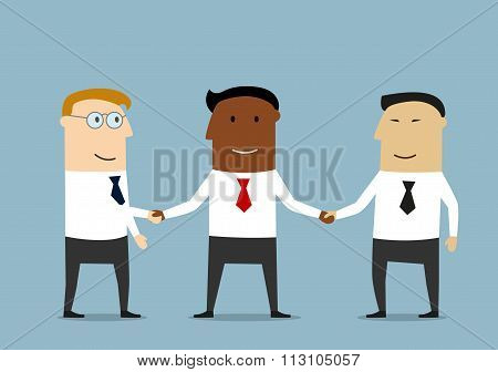 Handshake of multiethnic business partners