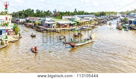 Close down corner floating market in the Hau River