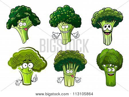 Green broccoli vegetables cartoon characters
