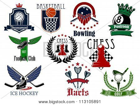 Sports game heraldic emblems with items