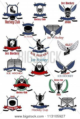 Ice hockey sport icons and symbols