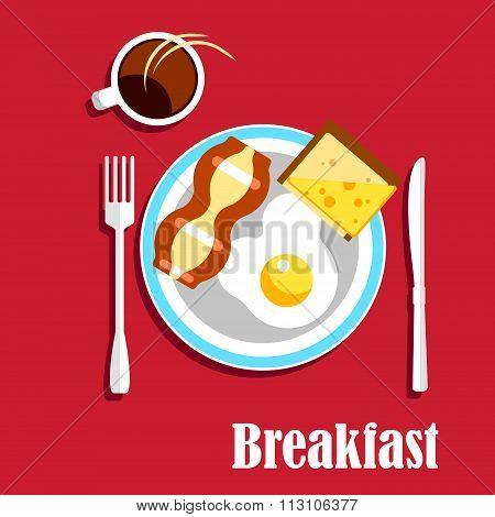 Breakfast coffee, egg, bacon and sandwich