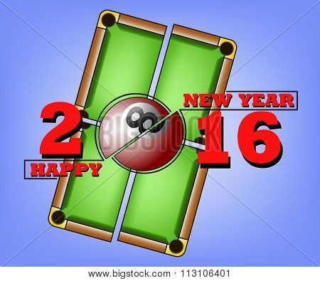 Happy New Year And Billiard