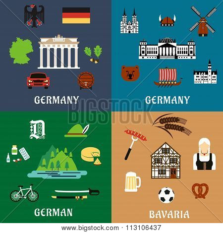 Germany travel ant culture flat icons