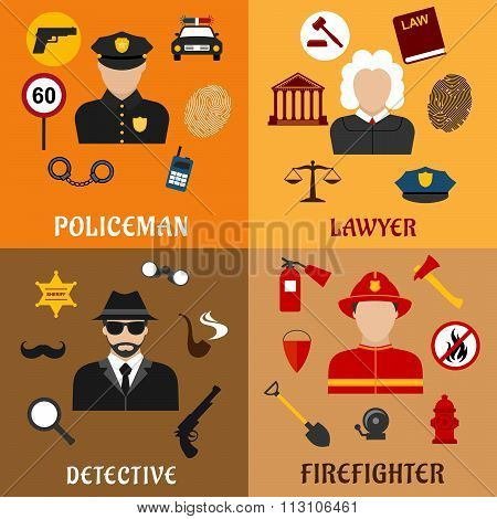 Policeman, firefighter, detective and lawyer icons